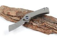 Kolye Zinciri ile Yüksek Kalite Yeni Mini Küçük EDC Pocket Katlama Bıçak D2 Taş Yıkama Blade TC4 Titanyum Alaşım Kol