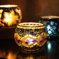 Los titulares del partido boda del sostenedor de mosaico de vidrio candelero de vela de cristal Prop boda de la barra de la vela Inicio regalos decoración linterna NAVIDAD GGA2951-5