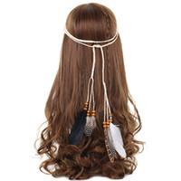 Haimeikang Boho Indiase veer hoofdband hoofdtooi haar touw hoofddeksels tribal hippie party nieuwe haaraccessoires
