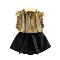 Abiti per bambini INS Neonate Set di abbigliamento Bambini Estate Cotone Chiffon T-shirt + Gonne Pantaloni corti A righe 2 pezzi Abiti GGA2346