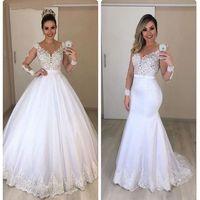 Nouvelle Arrivée Blanc Robes de mariée à manches longues à manches longues 2020 robe de mariée robe de mariée vestido de noiva robe de mariée avec train détachable