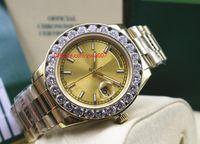 Fabrika Maker ücretsiz kargo Saatı gün-Tarih 41MM Başkan sarı altın Altın Dial büyük elmas otomatik erkek erkek saati saatler