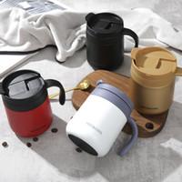 12 Aço inoxidável oz Caneca Pequeno Almoço, Leite do copo de café com caneca Handle Office Home Insulation Tea