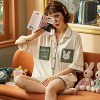Kadın Pijama Nightwa Sevimli Karikatür Pijama Gevşek Ev Tekstili Yaz Gecelik Setleri Cep Pijama Yumuşak Nighty Pijama Kadınlar
