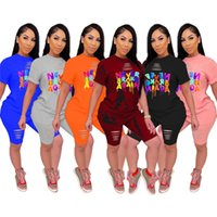 Women Ripped Two Pieces Outfits S-5XL Short Sleeve T-shirts+Shorts Jogger Suit Plus Size Tracksuits Tee Tops+Short Pants Summer Clothing3334