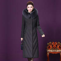 Piumino da donna di mezza età di alta qualità 2019 New Fashion Warm Hooded Large size Collo di pelliccia vera Piumino femminile NUW351