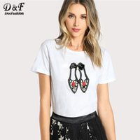 Dotfashion White Bow Lovely Shoes Applique T- Shirt Women 201...