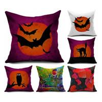 Bat modello federa stile europeo di halloween del fumetto modelli gufo cuscino stampa lino federa nuovo arrivo 5 88bha l1