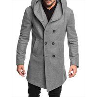 الدافئة الرجال أزياء نمط جديد الساخن في فصل الشتاء معاطف الخندق زر الصلبة مع القمم نمط الصوفية الجيب البريطاني عارضة خندق معطف طويل