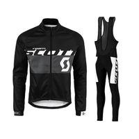 Hombres Scott Ciclismo Jersey Traje deportivo al aire libre Camisetas de manga larga camisetas Pantalones de babero Conjuntos Transpirable Ropa de bicicleta S21012974