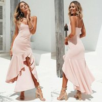 2020 여름 새로운 패션 여성 의류 보헤미안 드레스 민소매 러플 파티 칵테일 여자 여성 Clubwear sundress에