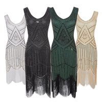 Vestido de partido de las mujeres calientes 1920 s Gran Gatsby aleta Vestidos de lentejuelas de la gota vestido de noche de la franja de cuello en V sin mangas con flecos embellecido