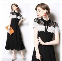 Neues Design der Frauen Oansatz Kurzhülse schwarz weiße Farbe Block Spitze Blumen gepatchten Chiffon hohe Taille a-Linie Maxi lange Kleid SMLXLXXL