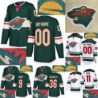Minnesota Wild Jersey Горячие бурения 11 Parise 16 Zucker 22 Niederreiter 40 Dubnyk 64 GranLund Настроить любой номер Любое имя Хоккейные изделия