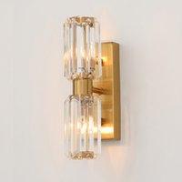 Nova chegada parede creativo cristal americano lâmpadas luzes led luz sconce suporte de parede iluminação de parede ouro luminárias de cabeceira varanda ktichen