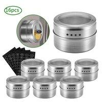 Magnetic Set pot d'épices avec récipient en acier inoxydable Spice Autocollants Tins Spice stockage poivre Assaisonnement Sprays Ustensiles de cuisine Jar