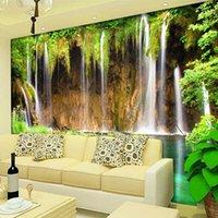 Dropship Custom Mural Wallpaper Non-woven Wall Decorations Living Room Sofa Bedroom Backdrop Wallpaper Wall Paper 3D Landscape Waterfall
