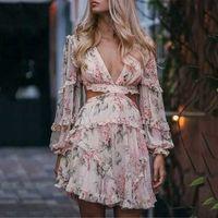 Tasarımcı Lüks Kadın Pist Elbiseler V Boyun Uzun Kollu Ruffles Çiçek Baskı Milan Pist Elbise Lady Mini Elbiseler A240