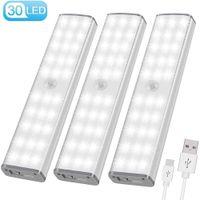 PIR Hareket Sensörü LED Işık USB Kablosuz LED Mutfak / Duvar Lambası 3 Modu Parlaklık Seviyesi 30 LED Dolap / Dolap / Dolap Altı Işık