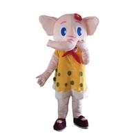Hot söt elefant maskot kostym outfits vuxen storlek tecknad maskot kostym för karneval festival kommersiell klänning