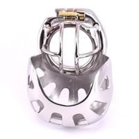 2020 novidade Super pequeno Male Cock gaiola Arco do pénis anel dispositivos de castidade de aço inoxidável com Escroto luva Bondage engrenagem Furtivo Locks