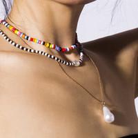 çok katmanlı tessel ile Üst Kalite Lüks Tasarımcı Salkım Kişiselleştirilmiş karışık renkli Boncuklu kolye İnci kolye şeklinde