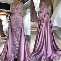 2020 New Custom Made Zuhair Murad Robes de soirée Amovible train de dentelle dos nu manches Robes de bal BM1627