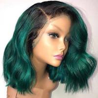 أسود الظلام الأخضر قصيرة بوب الشعر الاصطناعية الرباط الجبهة الباروكة الجسم متموجة الباروكات مع شعري الطبيعي للنساء غلويليس مقاومة للحرارة الألياف الشعر