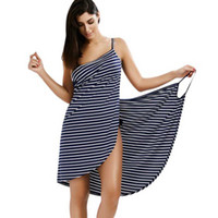 Wipalo 2019 Sexy Backless Mulheres Verão Listrado Vestido Com Decote Em V Spaghetti Strap Mulheres Na Altura Do Joelho-up capa Beach Dresses vestidos