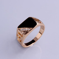 Brand New Classic Silver Gold- color Rhinestone Men Ring Blac...