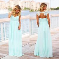 Plus Size Vintage Mint Green Robes de mariée pas cher Pays longue longueur de plancher de la plage Backless enceinte demoiselle d'honneur robe de maternité