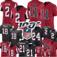 Atlanta 2 Matt Ryan Falcon Jersey 11 Julio Jones 18 Ridley 24 Devonta Freeman 21 Deion Sanders Futbol Formalar S-XXXL
