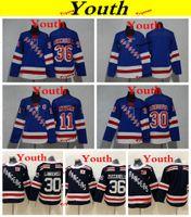 Jugend New York Rangers 2019 11 Mark Messier 30 Henrik Lundqvist Eishockeytrikots Kinder Mädchen Jungen Genähte Hemden