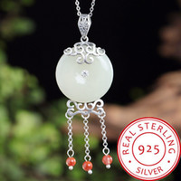 925 Sterling Silver New Arrival Natural Hotan Jade Safety Bu...