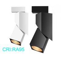 CREE 5W 15W Rail Track Fixture COB plafond léger sur rail Projecteur Rail d'éclairage LED AC85-265V Noir / Blanc Rail Track Guide lumière