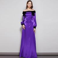Nueva colección Fiesta de noche para mujer Vestidos de baile Slash Escote Mangas largas Arco Detallado Elegante Maxi diseñador Vestidos de moda