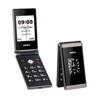 UNIWA X28 2.8 / 1.77 بوصة وشاشة مزدوجة SOS وظيفة كبيرة زر الهاتف 1200mAh بطارية البطارية طويل الاستعداد إفتح الوجه خلية