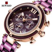 RECOMPENSA manera de las mujeres Relojes y tiras de acero reloj de cuarzo Para Montre Femme 2020 señoras reloj de pulsera resistente al agua Relogio Feminino
