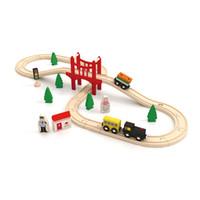 Modelo de tren de madera, diversos accesorios, pista de muñecas de pista, juguete de desarrollo de bricolaje, pintura verde, seguridad para fiesta de cumpleaños para niños navidad