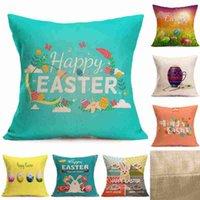 Easter Linen Pillowcase Square Happy Easter Retro Egg Bunny ...