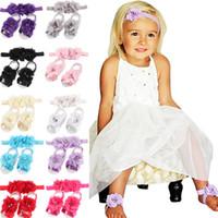 Baby Flower pieds nus pieds nus lattes bébé fille enfants première promenade chaussures bandeau set serre-tête de couleur massif