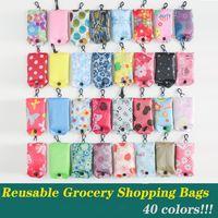 Многоразовый Бакалея сумки Складного Продуктовых сумки Складных Покупки Tote Bag поместится в кармане Экология моющейся Прочный и легкий