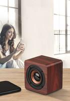 Q1 Altavoces portátiles de madera de Bluetooth de la batería 1200mAh mini subwoofer inalámbrico de música MP3 jugador de tarjeta USB TF Juego audio AUX entrada de altavoz de madera