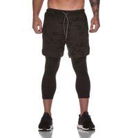 6 ألوان الرجال الصيف السراويل بنطال كابري طبقة مزدوجة السراويل تدريب اللياقة البدنية جفاف سريع الركض موضة السروال فضفاض السراويل عارضة