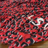 Gros- conception automne hiver coton imprimé matériel écharpe châle dame rouge grain léopard grande taille 200cm - 130cm