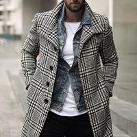Mens Trench Coats Mode Plaid Revers Einreiher lange Mantel-freies Verschiffen Winter Fashion Long Jacket Coats Men Overcoat