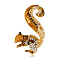 2019 Nouveau Crystal Crystal Squirrel Pin Broche Designer Broches Badge Métal Enamel Pin Broche Femmes Bijoux de Luxe