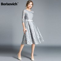 Borisovich Women Casual Dress New Brand 2018 Autumn Fashion Hollow Out Lace Big Swing Elegant Ladies Evening Party Dresses M843 Y19051102