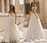 Старинные богемные кружевные аппликации 2019 свадебные платья глубокие V-шеи без спинки с короткими рукавами свадебные платья для свадебных платьев