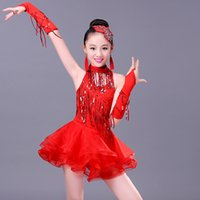 All'ingrosso-latina sexy vestito da ballo per il bambino ragazze Paillettes nappe ballo Practice Competition costume per bambini Tango Samba Dance Clothes